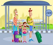 Ευτυχής οικογένεια στη στάση λεωφορείου ελεύθερη απεικόνιση δικαιώματος