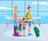 Ευτυχής οικογένεια στον αερολιμένα διανυσματική απεικόνιση