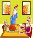 Ευτυχής οικογένεια στον πίνακα γευμάτων ελεύθερη απεικόνιση δικαιώματος