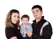 Ευτυχής οικογένεια στο λευκό στοκ εικόνες με δικαίωμα ελεύθερης χρήσης