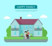 Ευτυχής οικογένεια στο ναυπηγείο του σπιτιού τους Στοκ εικόνα με δικαίωμα ελεύθερης χρήσης