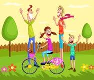 Ευτυχής οικογένεια στο πάρκο απεικόνιση αποθεμάτων