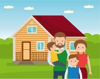 Ευτυχής οικογένεια στο υπόβαθρο του σπιτιού του Πατέρας, μητέρα, και γιος δύο μαζί υπαίθρια απεικόνιση αποθεμάτων