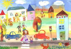 Ευτυχής οικογένεια σχεδίων παιδιού, κτήριο, αυτοκίνητο Στοκ Εικόνες
