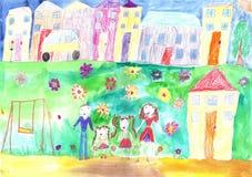 Ευτυχής οικογένεια σχεδίων παιδιού, κτήριο, αυτοκίνητο Στοκ Εικόνα