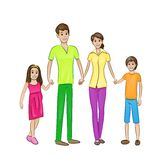 Ευτυχής οικογένεια τέσσερα άνθρωποι, γονείς με δύο ελεύθερη απεικόνιση δικαιώματος