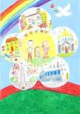 Ευτυχής οικογένεια της γης Αγάπη, ειρήνη Το παιδί και οι γονείς Στοκ φωτογραφία με δικαίωμα ελεύθερης χρήσης