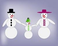 Ευτυχής οικογένεια χιονανθρώπων που περπατά χέρι-χέρι διανυσματική απεικόνιση