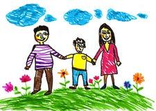 Ευτυχής οικογένεια. ελεύθερη απεικόνιση δικαιώματος