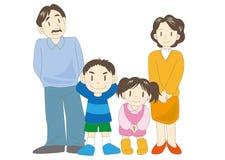 Ευτυχής οικογενειακή εικόνα - γονείς και παιδιά διανυσματική απεικόνιση