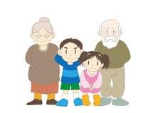 Ευτυχής οικογενειακή εικόνα - παππούς και γιαγιά και παιδιά διανυσματική απεικόνιση