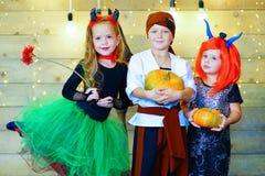 Ευτυχής ομάδα παιδιών κατά τη διάρκεια του κόμματος αποκριών Στοκ εικόνες με δικαίωμα ελεύθερης χρήσης