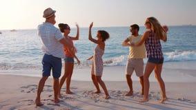 Ευτυχής ομάδα φίλου ενθαρρυντική στην παραλία απόθεμα βίντεο