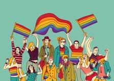 Ευτυχής ομοφυλοφιλική ομάδα και ουρανός ανθρώπων συνεδρίασης του Lgbt διανυσματική απεικόνιση