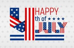 Ευτυχής 4ος της ευχετήριας κάρτας Ιουλίου για την ΑΜΕΡΙΚΑΝΙΚΗ ημέρα της ανεξαρτησίας επίσης corel σύρετε το διάνυσμα απεικόνισης Στοκ εικόνα με δικαίωμα ελεύθερης χρήσης