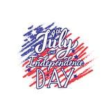 Ευτυχής 4ος του αποσπάσματος Ιουλίου Το γράφοντας κείμενο ημέρας της ανεξαρτησίας Τυπωμένη ύλη για τα ενδύματα, κούπα, κάρτα διανυσματική απεικόνιση