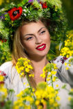 Ευτυχής ουκρανική γυναίκα πορτρέτου Στοκ Εικόνες