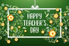 Ευτυχής πίνακας κιμωλίας διακοπών ημέρας δασκάλων Στοκ φωτογραφία με δικαίωμα ελεύθερης χρήσης