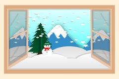 Ευτυχής πίσω από το παράθυρο πίσω από την κούκλα χιονιού, μειωμένο χιόνι, κρύο απεικόνιση αποθεμάτων