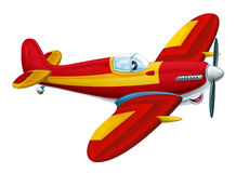 Ευτυχής παραδοσιακός πυροσβέστης αεροπλάνων κινούμενων σχεδίων με τον προωστήρα που χαμογελά και που πετά πέρα από την πόλη Στοκ φωτογραφία με δικαίωμα ελεύθερης χρήσης