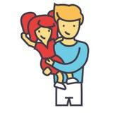 Ευτυχής πατέρας με την κόρη, μπαμπάς με την έννοια παιδιών απεικόνιση αποθεμάτων