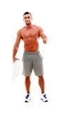 Ευτυχής πετσέτα εκμετάλλευσης αθλητικών τύπων Στοκ Φωτογραφία