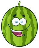 Ευτυχής πράσινος χαρακτήρας μασκότ κινούμενων σχεδίων νωπών καρπών καρπουζιών με τις καρδιές και τις ανοικτές αγκάλες για το αγκά ελεύθερη απεικόνιση δικαιώματος