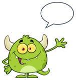 Ευτυχής πράσινος χαρακτήρας Emoji κινούμενων σχεδίων τεράτων που κυματίζει για το χαιρετισμό με τη λεκτική φυσαλίδα ελεύθερη απεικόνιση δικαιώματος