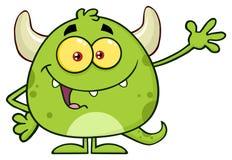 Ευτυχής πράσινος χαρακτήρας Emoji κινούμενων σχεδίων τεράτων που κυματίζει για το χαιρετισμό απεικόνιση αποθεμάτων