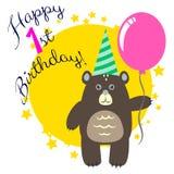 Ευτυχής πρώτη ευχετήρια κάρτα γενεθλίων με την αρκούδα απεικόνιση αποθεμάτων