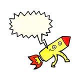 ευτυχής πύραυλος κινούμενων σχεδίων με τη λεκτική φυσαλίδα Στοκ Εικόνα