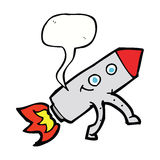 ευτυχής πύραυλος κινούμενων σχεδίων με τη λεκτική φυσαλίδα Στοκ φωτογραφία με δικαίωμα ελεύθερης χρήσης