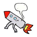 ευτυχής πύραυλος κινούμενων σχεδίων με τη λεκτική φυσαλίδα Στοκ Εικόνες