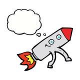 ευτυχής πύραυλος κινούμενων σχεδίων με τη σκεπτόμενη φυσαλίδα Στοκ Φωτογραφία