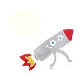 ευτυχής πύραυλος κινούμενων σχεδίων με τη σκεπτόμενη φυσαλίδα Στοκ φωτογραφίες με δικαίωμα ελεύθερης χρήσης