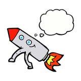 ευτυχής πύραυλος κινούμενων σχεδίων με τη σκεπτόμενη φυσαλίδα Στοκ Εικόνες