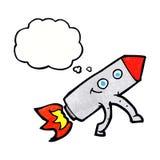 ευτυχής πύραυλος κινούμενων σχεδίων με τη σκεπτόμενη φυσαλίδα Στοκ φωτογραφία με δικαίωμα ελεύθερης χρήσης