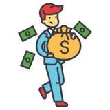 Ευτυχής πλούσιος επιχειρηματίας με την τσάντα χρημάτων, χρηματοδότηση, πλούτος, έννοια επιτυχίας ελεύθερη απεικόνιση δικαιώματος