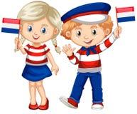 Ευτυχής σημαία εκμετάλλευσης αγοριών και κοριτσιών Netherland Στοκ Εικόνα