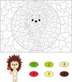 Ευτυχής σκαντζόχοιρος με το κόκκινο λουλούδι Χρώμα από το εκπαιδευτικό παιχνίδι αριθμού Στοκ Φωτογραφίες