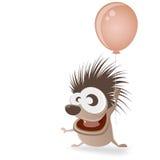 Ευτυχής σκαντζόχοιρος με το μπαλόνι Στοκ Φωτογραφίες