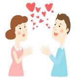 Ευτυχής συζήτηση ζευγών με την αγάπη διανυσματική απεικόνιση