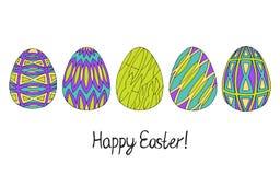 Ευτυχής συλλογή σκίτσων αυγών Πάσχας στα πράσινα, πορφυρά και μπλε χρώματα Σύγχρονο σχέδιο slyle ελεύθερη απεικόνιση δικαιώματος