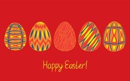 Ευτυχής συλλογή σκίτσων αυγών Πάσχας στα φωτεινά χρώματα στο κόκκινο υπόβαθρο Σύγχρονο σχέδιο slyle ελεύθερη απεικόνιση δικαιώματος