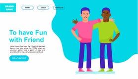 Ευτυχής συνεδρίαση δύο φίλων Ιστοχώρος ή προσγειωμένος σελίδα Πολυπολιτισμική απεικόνιση έννοιας φιλίας r στοκ φωτογραφίες