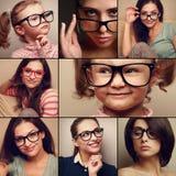 Ευτυχής συλλογή κολάζ πορτρέτου χαμόγελου από τους ανθρώπους στο κοίταγμα γυαλιών Ύφος μόδας του διαφορετικού υποβάθρου στοκ εικόνα με δικαίωμα ελεύθερης χρήσης