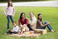 Ευτυχής σύγχρονη πολυπολιτισμική οικογένεια που απολαμβάνει picnic στοκ εικόνα