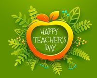Ευτυχής τέχνη εγγράφου ημέρας δασκάλων με το μήλο Στοκ Φωτογραφία