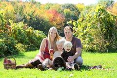 Ευτυχής τετραμελής οικογένεια που έχει το πρόχειρο φαγητό φρούτων στον οπωρώνα της Apple φθινοπώρου Στοκ φωτογραφίες με δικαίωμα ελεύθερης χρήσης