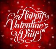Ευτυχής τυπογραφία ημέρας βαλεντίνων με τις καρδιές και τις μορφές κύκλων Στοκ Εικόνα